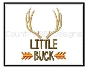 Little Buck Antlers and Arrows Custom  Embroidery Design -INSTANT DOWNLOAD-