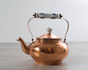 Vintage Brass Kettle / Ceramic and Metallic Teapot with Stainless Steel Interior