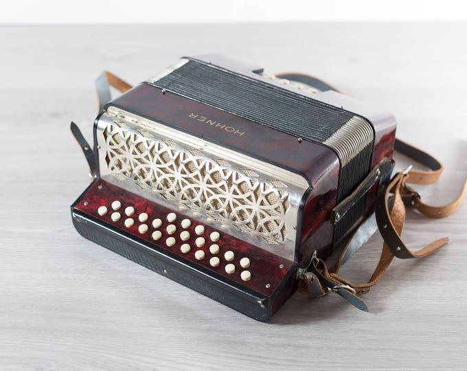 Hohner Lilput Accordion / Vintage Red Marbled Working Folk Musical Instrument