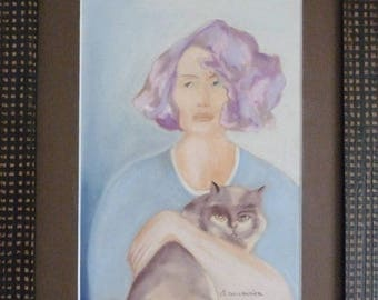 Cat in pastel Tableau chalk art Dianou and her Kitty