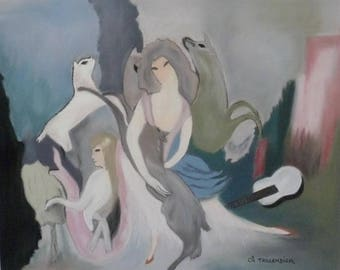 Animal painting dogs in pastel by Marie Laurencin wolves