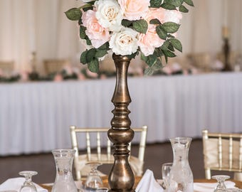 Tall wedding centerpiece, beautiful silk floral centerpiece, hydrangea and rose centerpiece, gold wedding centerpiece, carnation centerpiece