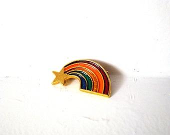 Vintage Enamel Rainbow Pride Rafaelian brooch Star Pin