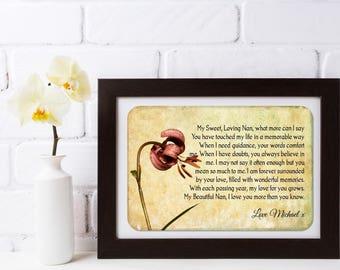 Grandmother Framed Personalised Poem - My Loving Nan