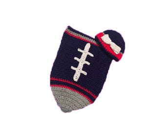 New England Patriots Fan Favorite Baby Girl Football Cocoon & Hat (Newborn to 3 months)