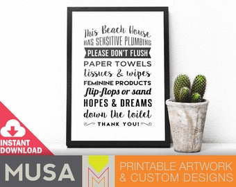 Beach House Don't Flush sign /sizes 4x6, 5x7 and 8x10 included / INSTANT DOWNLOAD / Great for guest houses