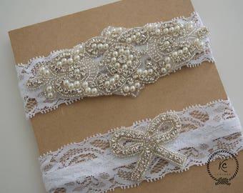 Lace Wedding Garter Set NO SLIP GARTER Ivory Bridal Garter Set White Bridal Garter Set
