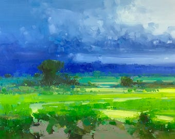 Cobalt Summer, Landscape oil Painting, large size painting, Ready to hang, One of a kind