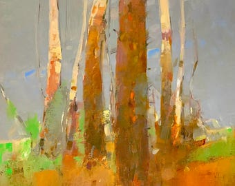 Birches Trees, Original oil Painting on Canvas Handmade artwork, One of a kind