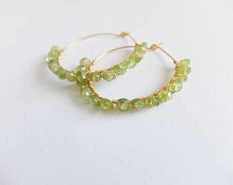 Green Peridot  earrings hoop gemstone golf filled hoop wire wrapped earring boho hoop beaded earring Peridot jewelry faceted natural Peridot