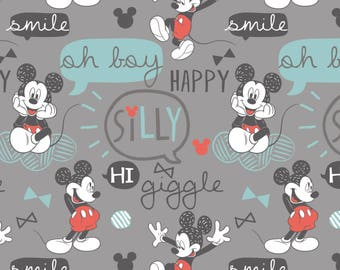 Disney Fabric Mickey Mouse Fabric Oh Boy! in Gray From Camelot 100% Premium Quality Cotton