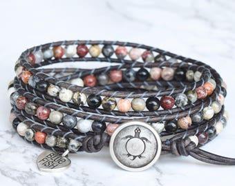 Wrap Bracelet, Jasper Gemstones, Beaded Leather Wrap, Beaded Bracelet Leather, Wrapped Bracelet, Boho Bracelet, Sea Turtle Button