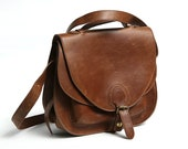 70s Messenger Brown faux Leather Bag, Tooled faux Leather Handbag, Crossbody woman Bag, Adjustable Shoulder Strap Military Bag, iPhone bag
