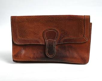 Vintage leather clutch, 70s Leather Purse Bag, Woman Retro Purse, Handmade Shoulder Bag, Vintage crossbody bag, messenger bag