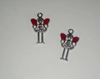 X 2 fairies wings red enamel 25mm