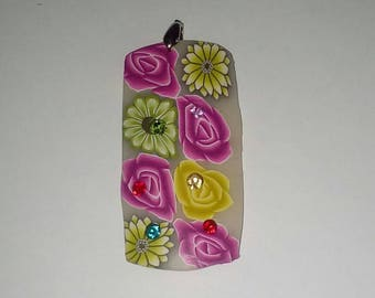 X 1 rectangle pendant fimo flowers 60mm