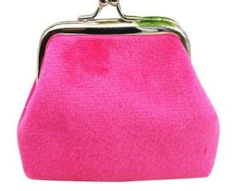 X 1 fuchsia velvet purse