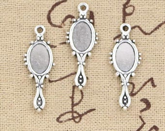 X 2 silver mirror Tibetan 25mm
