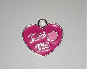 X 1 pink enamel heart 20mm