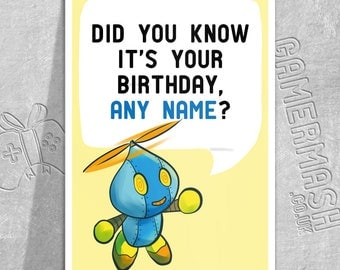PERSONALISED BIRTHDAY CARD - Omochao -  Sonic Adventure themed