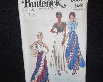 Butterick 3557 Misses Womens Size 10 Flared Swirl Skirt Vintage 70s
