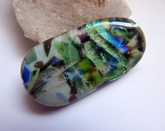 Fused Glass Cabochon - Garden Glass - Dichroic Glass - Multi Color - Wire Wrapping