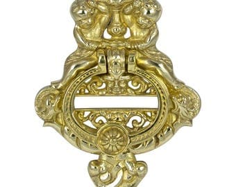 Large HEAVY cast solid brass door knocker with angel cherub motif