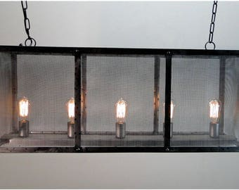 Rectangular Screen Iron Chandelier Hand Made Ceiling Fixture Antique Style