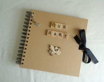 Baby shower album, Baptism Gift idea,  Rustic keepsake scrapbook, Christening photo album, New Parent gift, First birthday present,