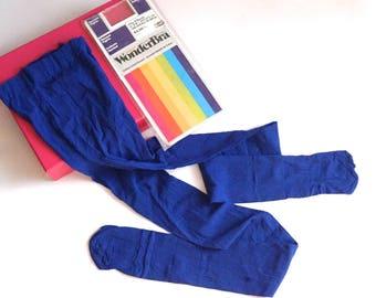 """Vintage Blue Tights, WonderBra Opaque Panty Hose, 5'-5'8"""", 153-173 cm, 100-150 lbs, 45-68 kg, Unworn Hosiery, Made in Canada Products"""