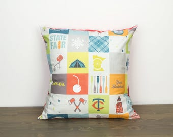 "Pillow cover Minnesota--16""x16""--patchwork, red, MN, modern, handmade, accent pillow, throw pillow"