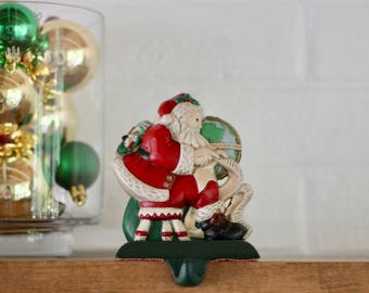vintage painted santa stocking holder santa claus stocking hanger christmas mantle hook santa - Stocking Hangers For Mantle