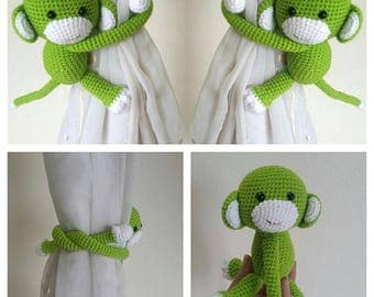 A pair of Apple Green  Monkeys Curtain Tiebacks (Both side)    MADE TO ORDER..