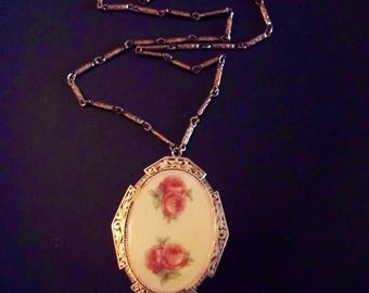 Vintage rose cameo Etsy