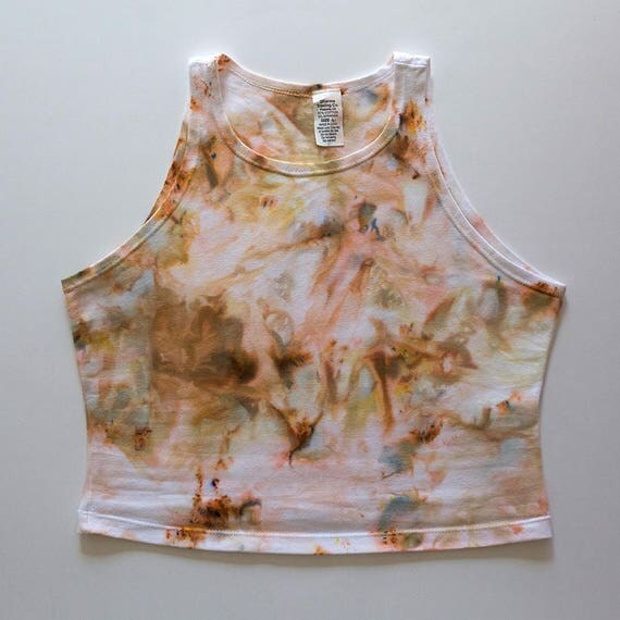 L Beige Watercolor High Neck Crop Top