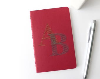 Hand embroidered notebook 2 initials bright personalized monogram-red booklet-writing-typographic design-personal man woman and teen gift