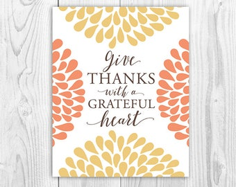 Give Thanks with a Grateful Heart, Thanksgiving sign, wall art, table sign, fall decoration, autumn, sign, INSTANT DOWNLOAD