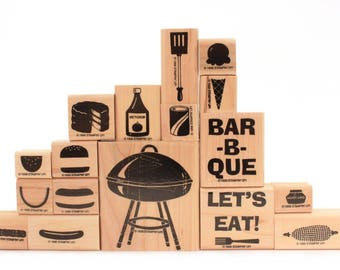 Bar-B-Que Fun, Hamburger Stamp, Hot Dog Stamp, Ice Cream Cone Stamp, Barbecue Grill Stamp, BBQ Stamps Summer, Stampin' Up, Rubber Stamp Set