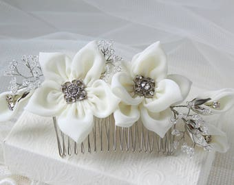Bridal Hair Combs - Wedding Hair Flowers - Ivory Hairpieces - Ivory Flower Combs - Decorative Combs - Floral Accessories - Flower Vine Combs