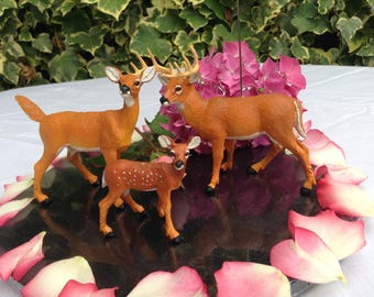 Deer stag doe and fawn table number holders cake topper .