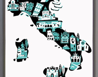 Wall Art-Italy Print-Art Print-Custom Color-Country Map Illustrations-10x8-11x14-12x16-Rome-Milan-Turin-Florence-Italy Gift