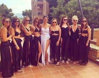Beach Maxi Skirt/Cover Up White, Black. Hen Do