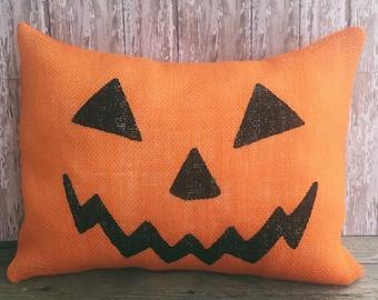 Halloween Jack O' Lantern Pillow Cover..Orange Burlap 12x16, 16x16 or 18x18 Throw Pillow Cover, Home Decor Pillow Case