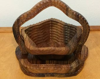 Collapsing Wood Basket - Folk Art