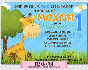 Jungle Giraffe Animal Wild, Boy:Design #031-Children's Birthday Party Digital Invitation File 4x6 or 5x7 Free Thank You Card with Purchase