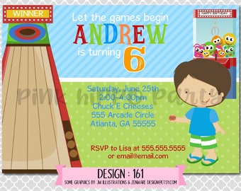Arcade Games, Carnival, Kids, Boy:Design #161-Children's Birthday Invitation, Personalized, Digital, Printable, 4x6 or 5x7 JPG