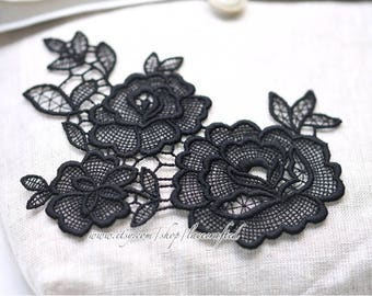 2 pcs Black Rose Flower Embroidery Appliques Chic Flower Patch for wedding dress Shirts Trousers Skirt formal full dress