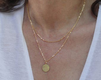 Gold Disc Necklace Etsy