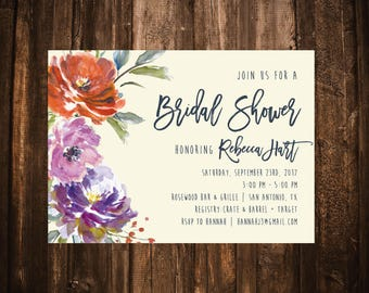 Fall Floral Bridal Shower Invitation; Watercolor; Orange, Plum, Ivory; Printable or set of 10