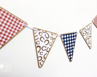 Cowboy Cowgirl Party Banner. Horseshoe pattern with Red & Blue gingham. Paper bunting, garland. Round up, rodeo party. Birthday, baby shower